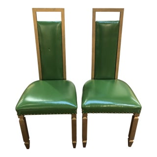 Green Throne Hollywood Regency Style Chairs, a Pair For Sale