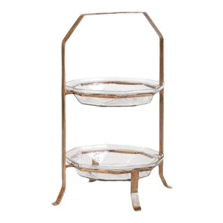 Kenneth Ludwig Chicago Ilana 2 Tier Glass Server For Sale