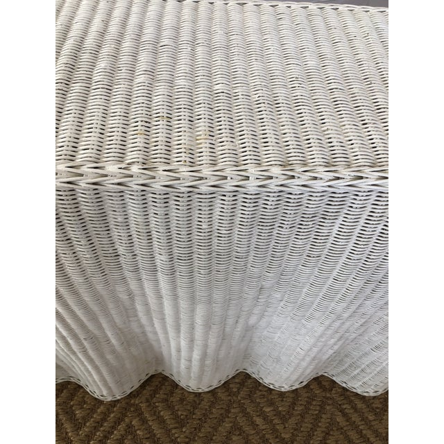 Vintage White Wicker Ghost Trompe L' Oeil Console For Sale - Image 11 of 13