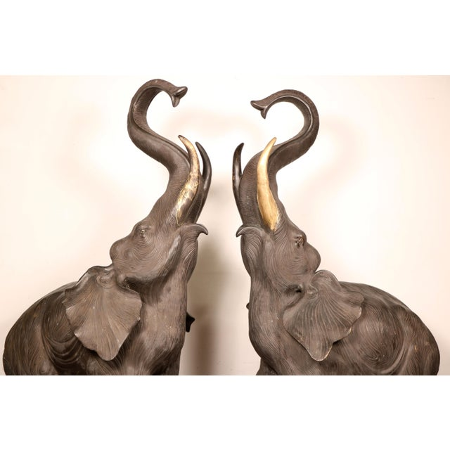 80s Bronze Elephant Statues - A Pair For Sale - Image 9 of 11
