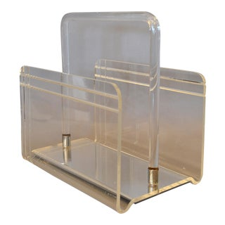 Dorothy Thorpe Mid-Century Modern Magazine Rack Mirrored Glass, Lucite & Chrome For Sale