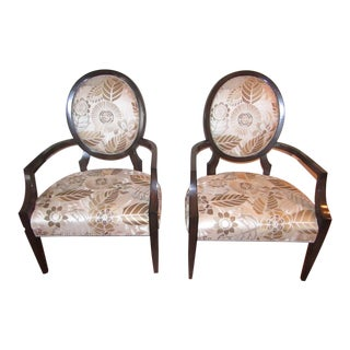 Contemporary Marge Carson Wood and Silk Embroidered Upholstery Accent Chairs - a Pair For Sale