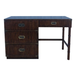 Vintage Campaign Style Writing Desk With Black Top For Sale
