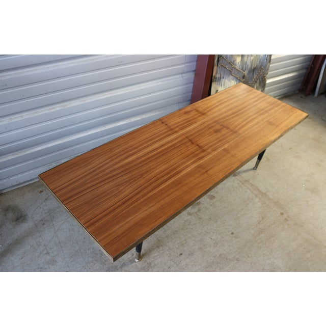 Mid Century Wood and Brass Cocktail Coffee Table - Image 6 of 6