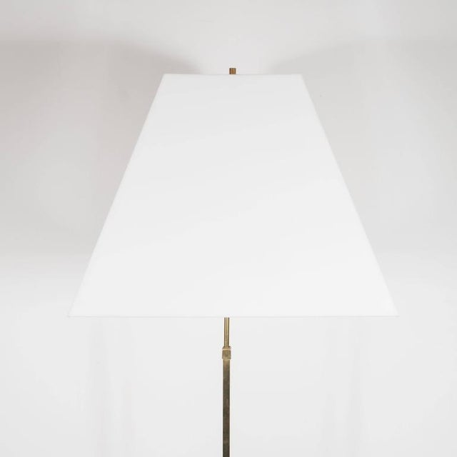 This sophisticated Mid-Century Modernist boasts a diamond base with sunburst detailing in polished brass. The stem...