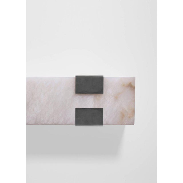 Contemporary Contemporary 003-4c Sconce in Brushed Nickel and Alabaster by Orphan Work, 2018 For Sale - Image 3 of 4