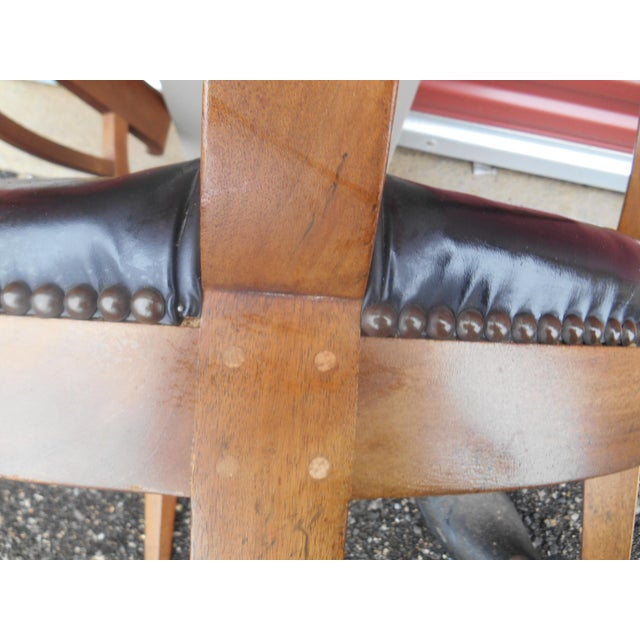 1960s Mid-Century Baker Furniture Studded Leather Asian Side Chair For Sale - Image 5 of 7