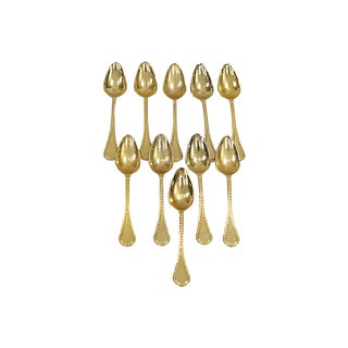 French Gold-Plates Espresso Spoons - Set of 10 For Sale