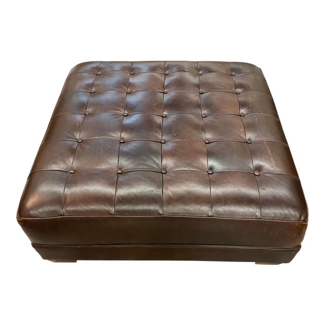 Contemporary Lee Industries Large Brown Leather Square Ottoman Coffee Table For Sale