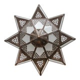 Image of Moroccan Moorish Star Shape Frosted Glass Lantern Light Shade For Sale
