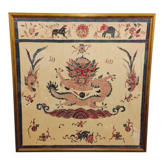 Vintage Batik Textile in Gold Frame For Sale
