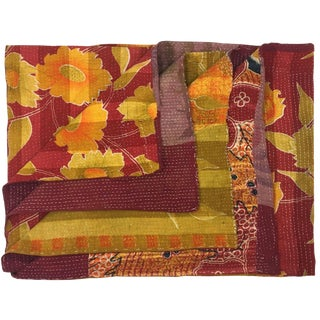 Wine and Sunflowers Vintage Kantha Quilt For Sale