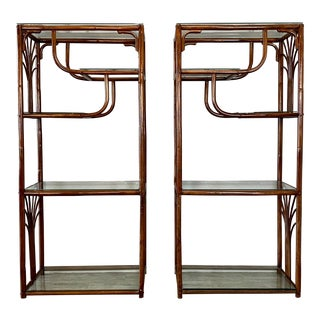 Vintage Mid Century Bamboo Rattan Etageres - a Pair For Sale