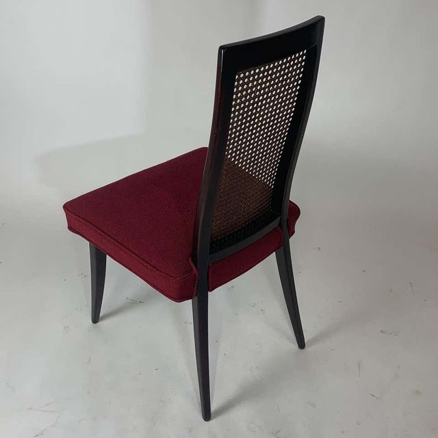 Red Set of 4 Harvey Probber Cane and Ebonized Mahogany Model 1055 Dining Chairs For Sale - Image 8 of 9