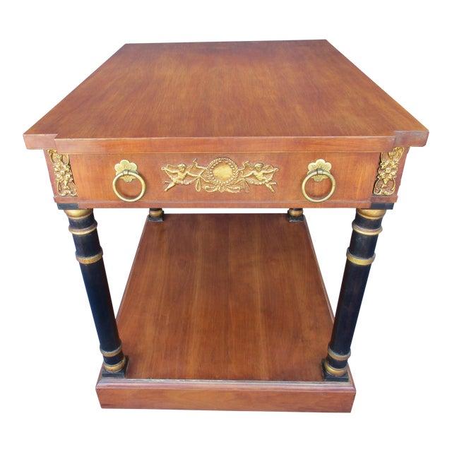Fine Arts Furniture Side Table With Ornate Cherub Motif For Sale