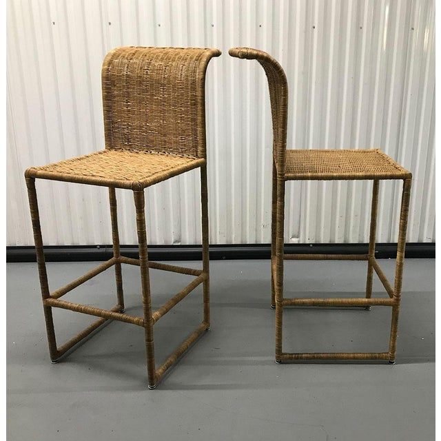 Mid-Century Modern Rattan Bar Stools - a Pair For Sale - Image 10 of 13