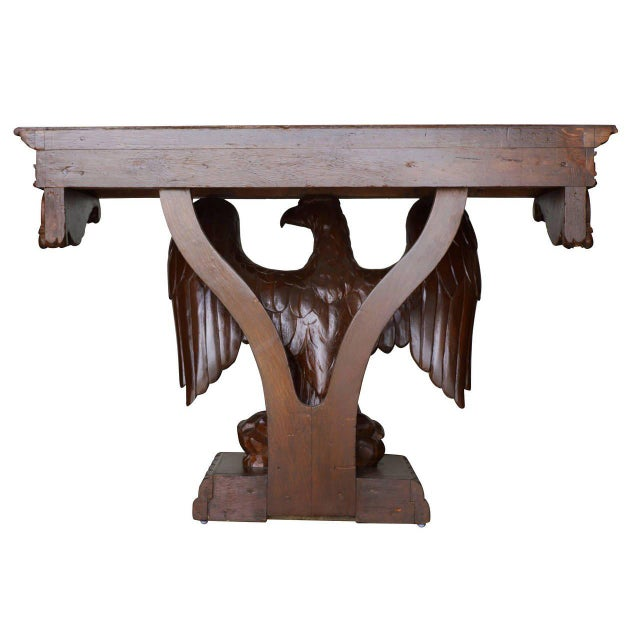 American Neoclassical Hand-Carved Eagle Console Table, Pair Available For Sale - Image 4 of 7
