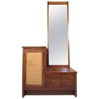 Mid-Century Hall Cabinet With Mirror For Sale
