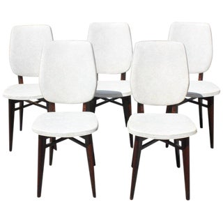 1940s Vintage French Art Deco Solid Mahogany Dining Chairs- Set of 5 For Sale