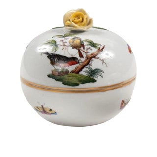 1950s Vintage Herend Birds and Bees Porcelain Sugar Bowl For Sale