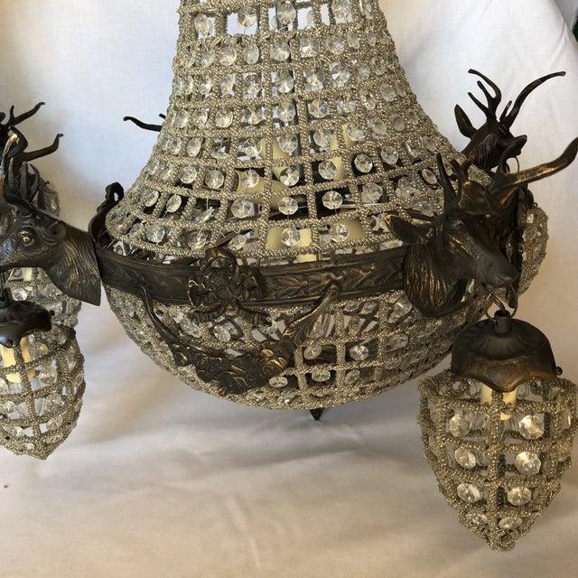 Bronze 10 Light Deer Head Chandelier For Sale - Image 4 of 11