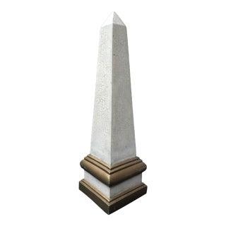 Mid Century Ceramic Craqueleur Obelisk For Sale