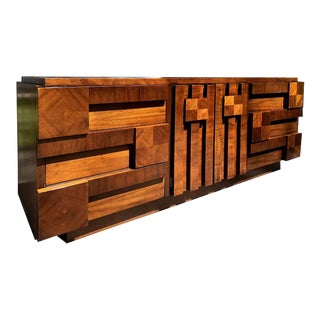 1970s Lane Brutalist Walnut 9-Drawer Dresser