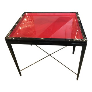Mid-Century Modern Theodore Alexander Red Black Lacquer Table For Sale
