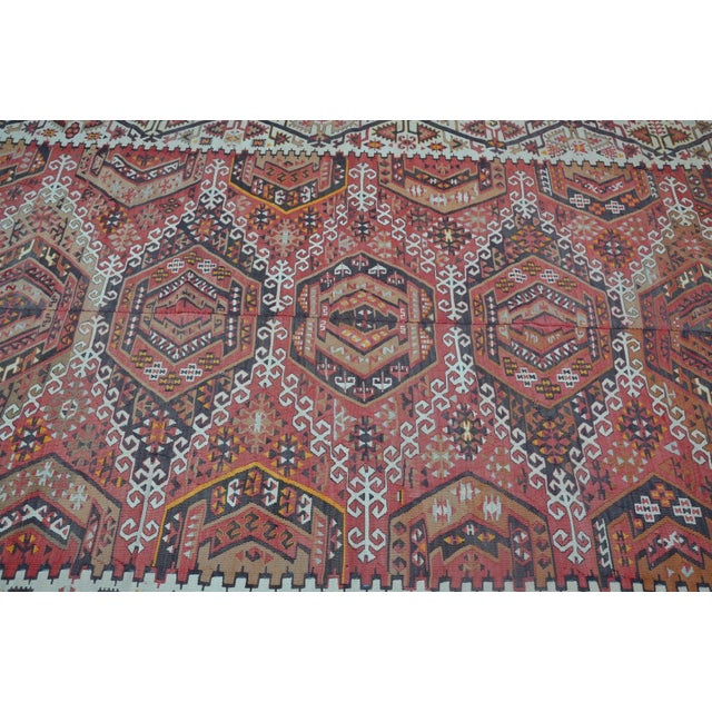 Large Turkish Antique Kilim Rug - 6′3″ × 12′7″ For Sale - Image 4 of 6
