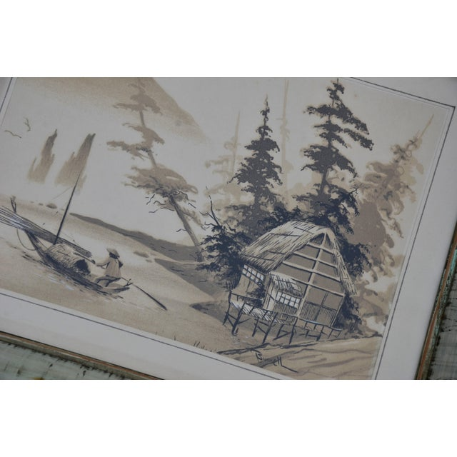 Wood Vintage Mid-Century James Bunnell Chinoiserie Ink Prints - A Pair For Sale - Image 7 of 13
