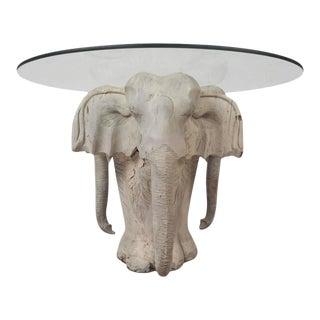 Vintage Modern Primitive Carved Wood Elephant Coffee Table For Sale