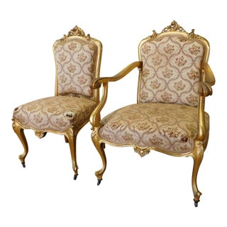 Antique 19th Century French Rococo Louis XVI Style Gilt Parlor Chairs