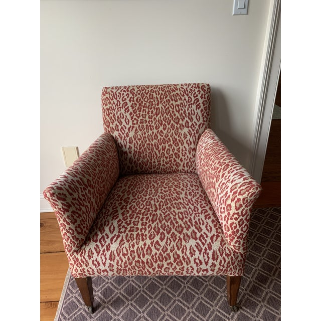 Wood 1940s Vintage Chair in New Thibaut Red Leopard Print For Sale - Image 7 of 8