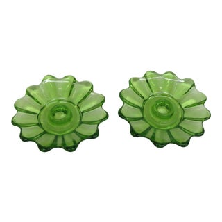 Fostoria Style Green Depression Glass Candle Stick Holders - a Pair For Sale