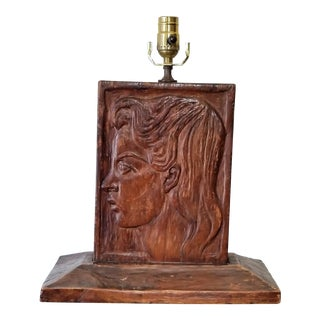 Vintage Black Forest Carved Wood Table Lamp For Sale