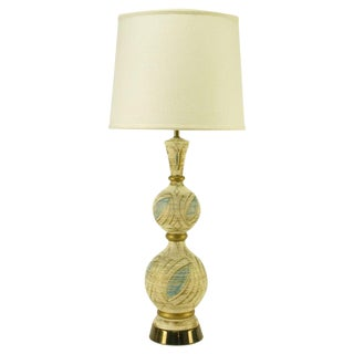 Double Gourd Form Parcel Gilt Plaster Table Lamp For Sale