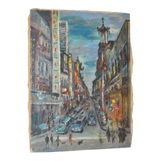 1950s Vintage San Francisco Chinatown Painting by Celia B. Michelena For Sale
