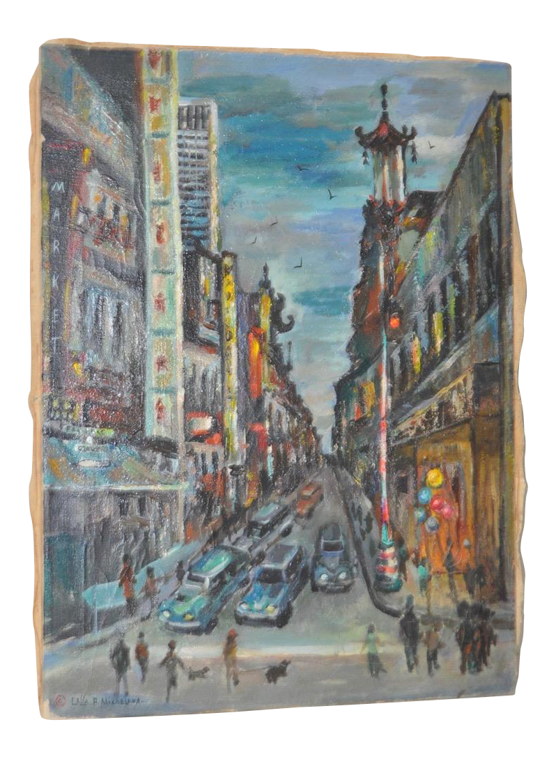 1950s Vintage San Francisco Chinatown Painting By Celia B. Michelena    Image 1 Of 9