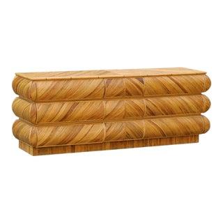 1980s Mid-Century Modern Bullnose Nine-Drawer Chest in Bamboo
