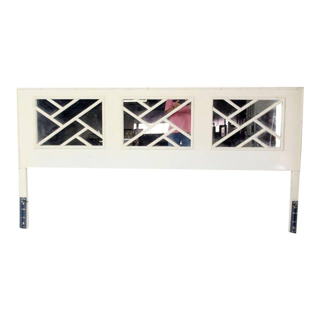 1970s Mid-Century Modern Faux Bamboo White Lacquer King-Size Headboard For Sale - Image 5 of 5