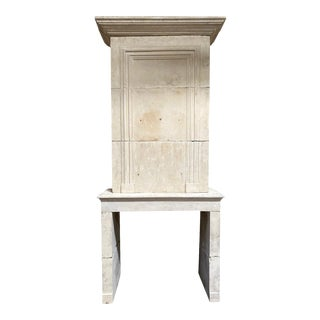 19th Century Limestone Mantel with Trumeau For Sale
