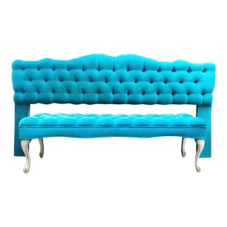 Vintage Neoclassical Turquoise Velvet and Gilt Wood King Tufted Headboard and Bench - a Set For Sale