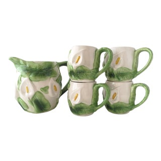 Vintage Calla Lilies Ceramic Pitcher and Mugs - Set of 5 For Sale