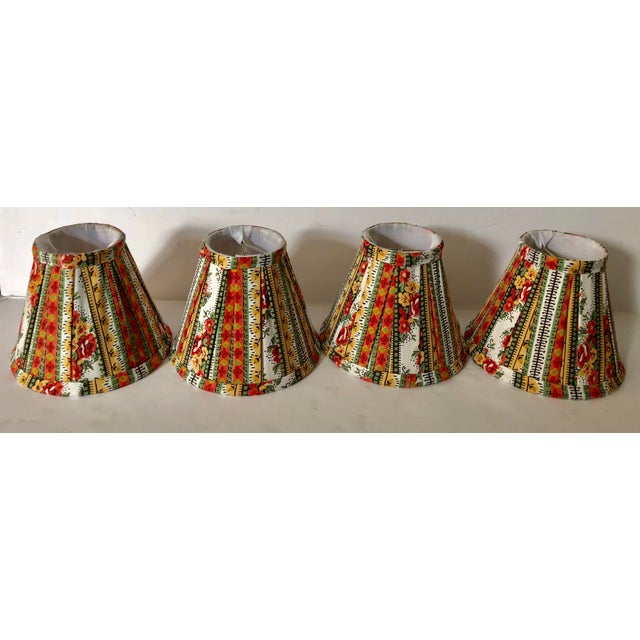 Custom striped floral chandelier shades set of 4 chairish custom striped floral chandelier shades set of 4 image 3 of 5 aloadofball Image collections