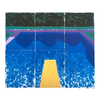 "David Hockney Rare Vintage 1978 Iconic Tyler Graphics Collector's Preview Lithograph Print "" Day Pool With Three Blues ( Paper Pool #7 ) "" For Sale"