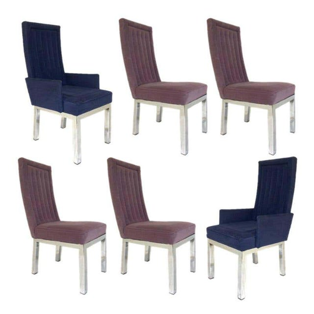 Hollywood Regency Set of 6 Milo Baughman for Design Institute of America Dia Chrome Parsons Chairs For Sale - Image 3 of 13