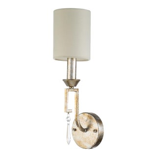 Simple 1 Light Candle Sconce with Shade, Antique Silver For Sale