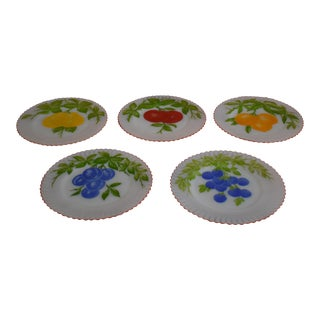 1950s Petalware MacBeth Evans Monax Handpainted Fruit With Red Trim Opalescent Plates - Set of 5 For Sale