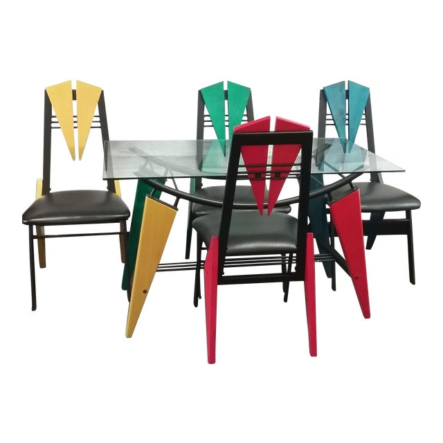 Art Deco Multicolor Dining Set - Image 1 of 6