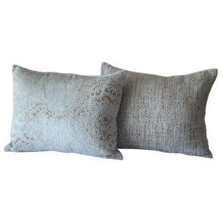Chenille Damask Blue Lumbar Pillows - A Pair For Sale
